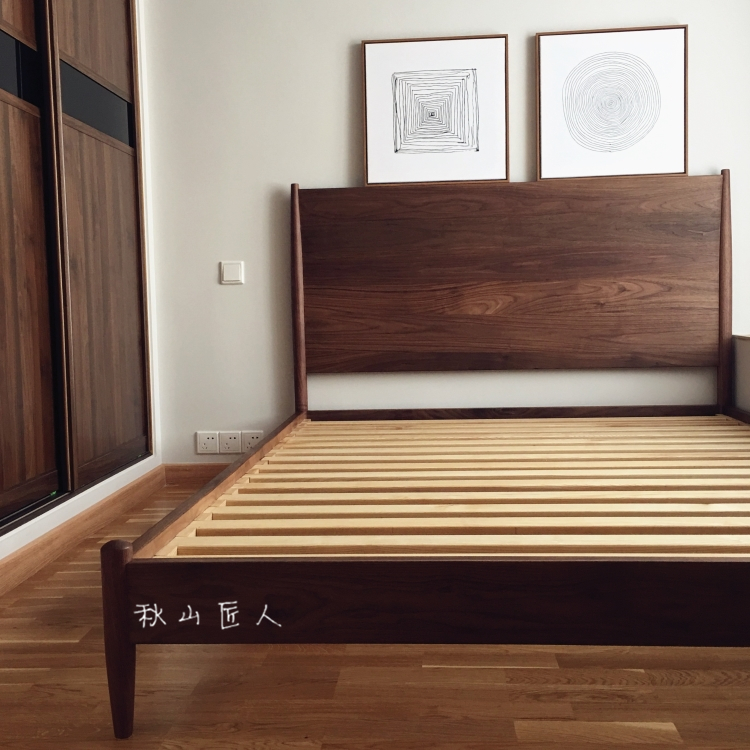 The Chinese Japanese rural wind Akiyama Nordic pure wood North American black walnut wood tenon double custom