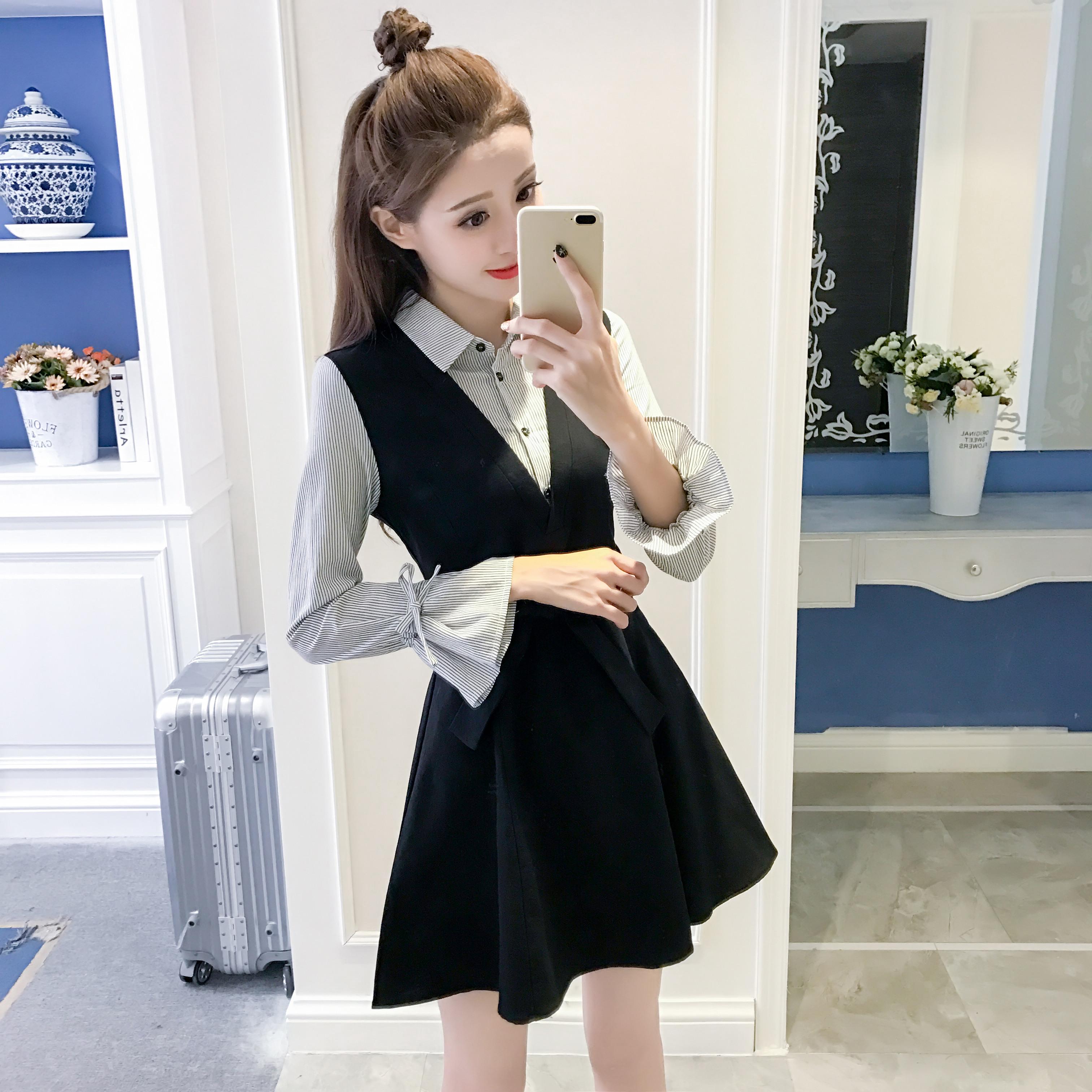 秋装长袖连衣裙女2017新款条纹假两件喇叭袖a字收腰显瘦衬衫裙子