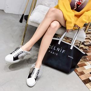 包头2018新品系带懒兔毛平底小白鞋  2188-8