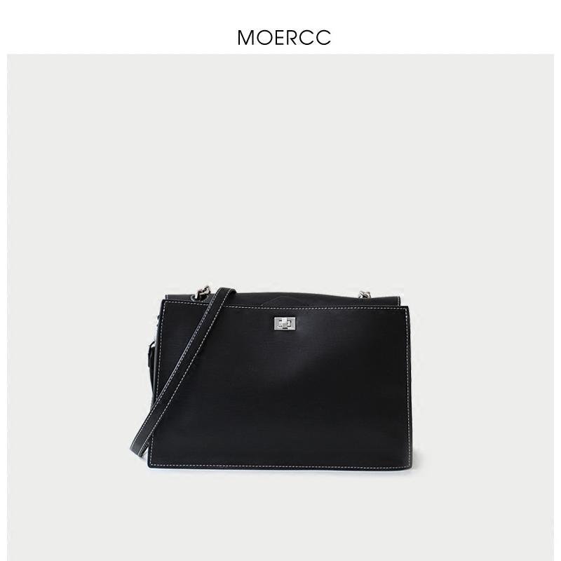 黑色moercc新款韓版通勤休閑手提女包復古簡約大包包牛皮休閑單肩包