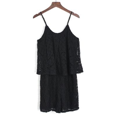 纯色无袖吊带连衣裤黑色蕾丝连体裤海边度假沙滩短裤子J325