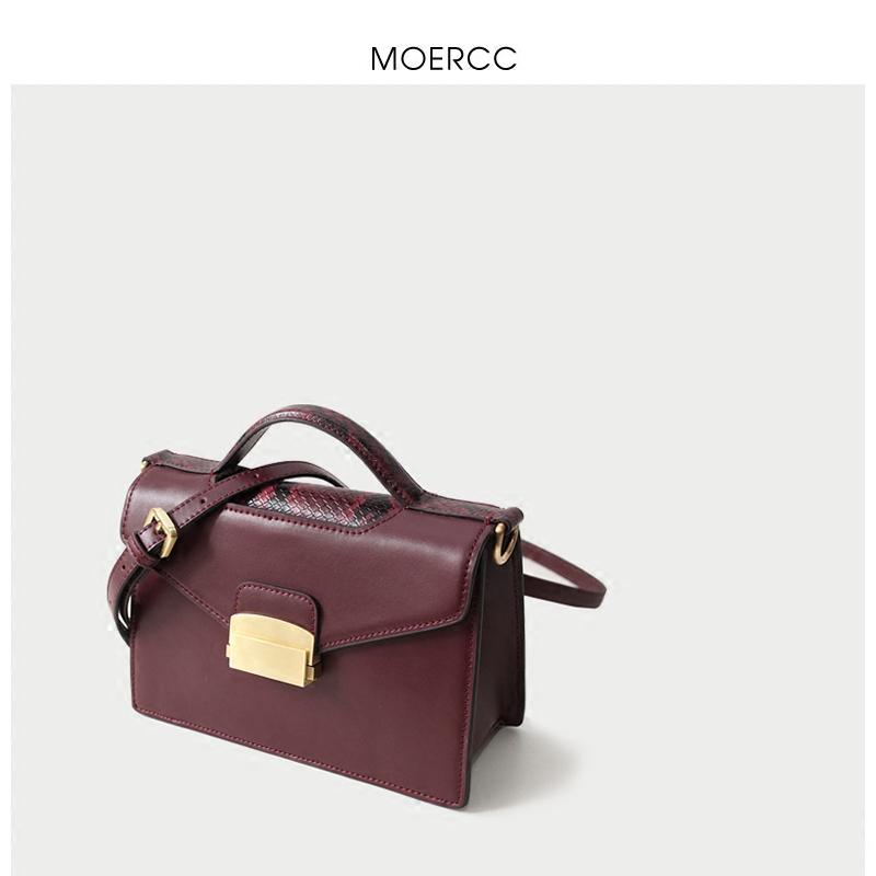黑色moercc新款簡約小方包手提女包牛皮小包包斜挎包迷你休閑單肩包