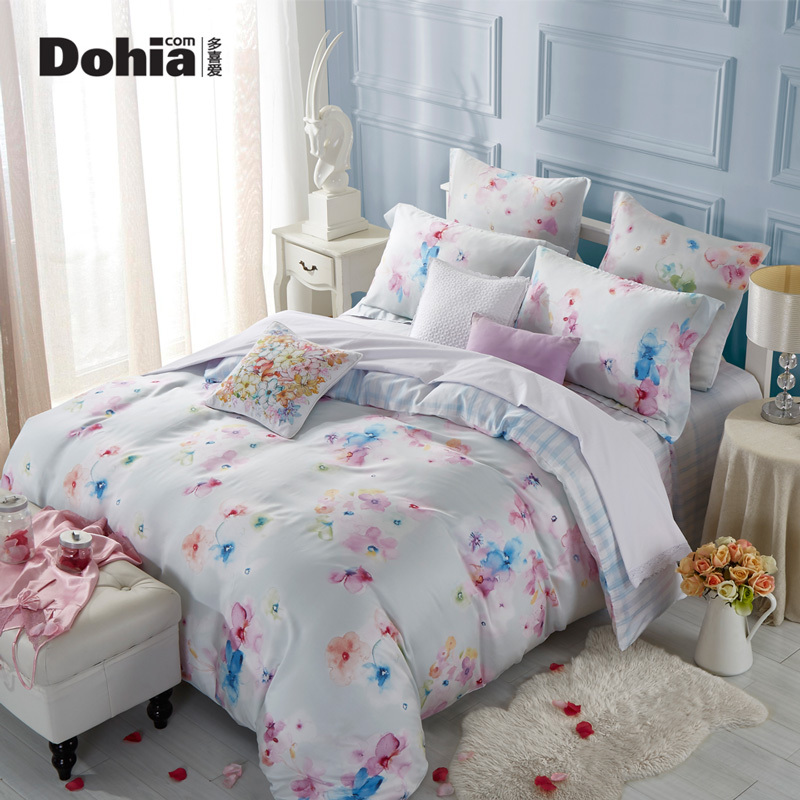 The more popular four sets of genuine 2017 new double bedding Tencel Tencel four piece picturesque Chen Hong