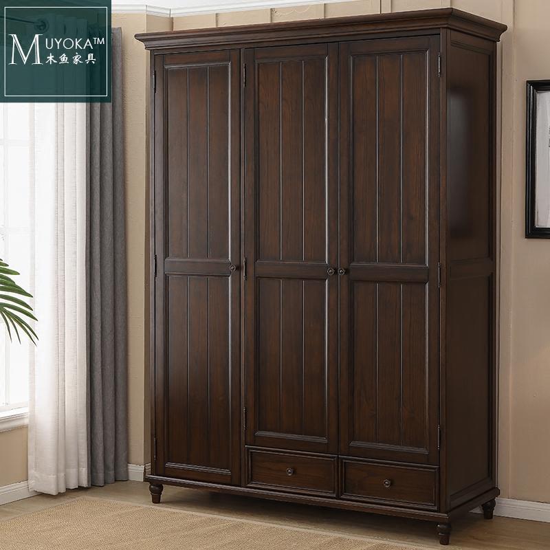 Américain de bois massif portes d'armoire armoire armoire américain village de mobilier de la Chambre de combinaison de noix de couleur noire de petite taille
