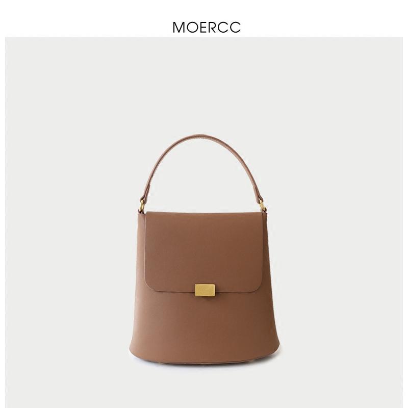 黑色moercc新款韓版女包簡約水桶包牛皮手提包學院風斜挎包鎖扣單肩包
