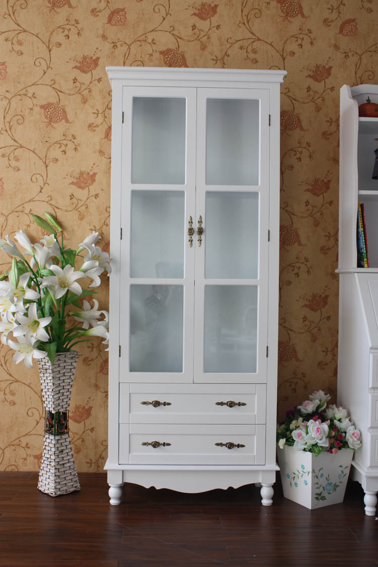European style ivory white fashion, modern simple garden solid wood, white cabinet, lockers, cabinets, cabinets, glass cabinets