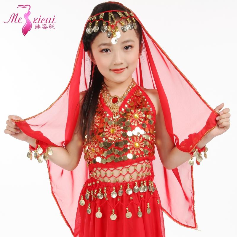 大紅純色兒童印度舞頭紗 少兒肚皮舞紗巾 頭紗 演出頭飾 雪紡吊幣頭紗