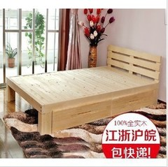 Promotional solid wooden double bed, single bed, 1.8 meters pine belt drawer, children's bed can be customized