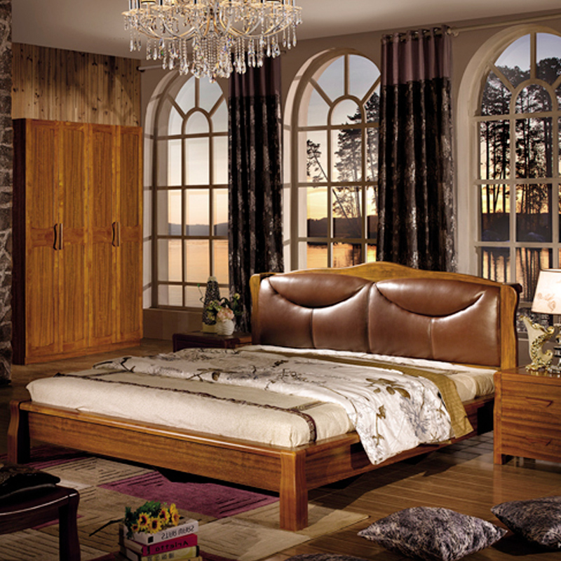 Chinese bedroom furniture solid wood bed plate 1.8 meters double bed combined with soft by modern minimalist tiger wood