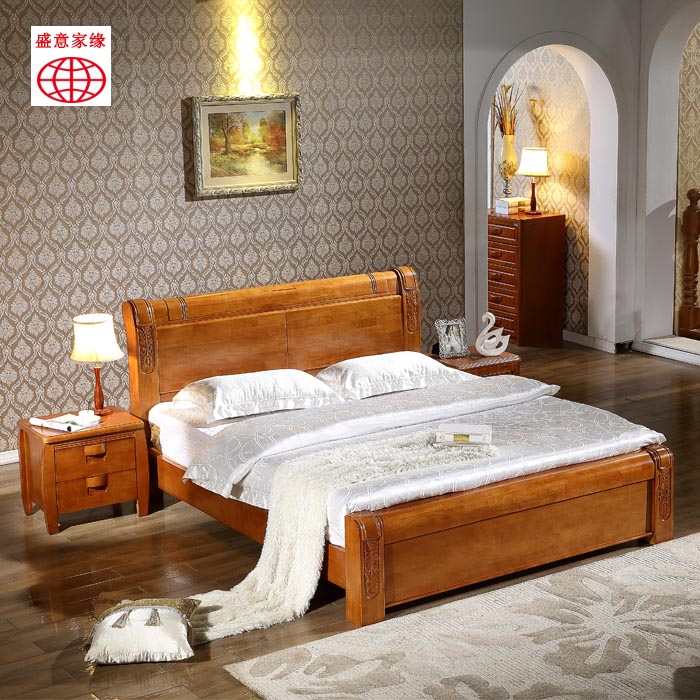 Special modern Chinese style solid wood bed, 1.8 meters oak storage, high box bed, marriage bed double bed