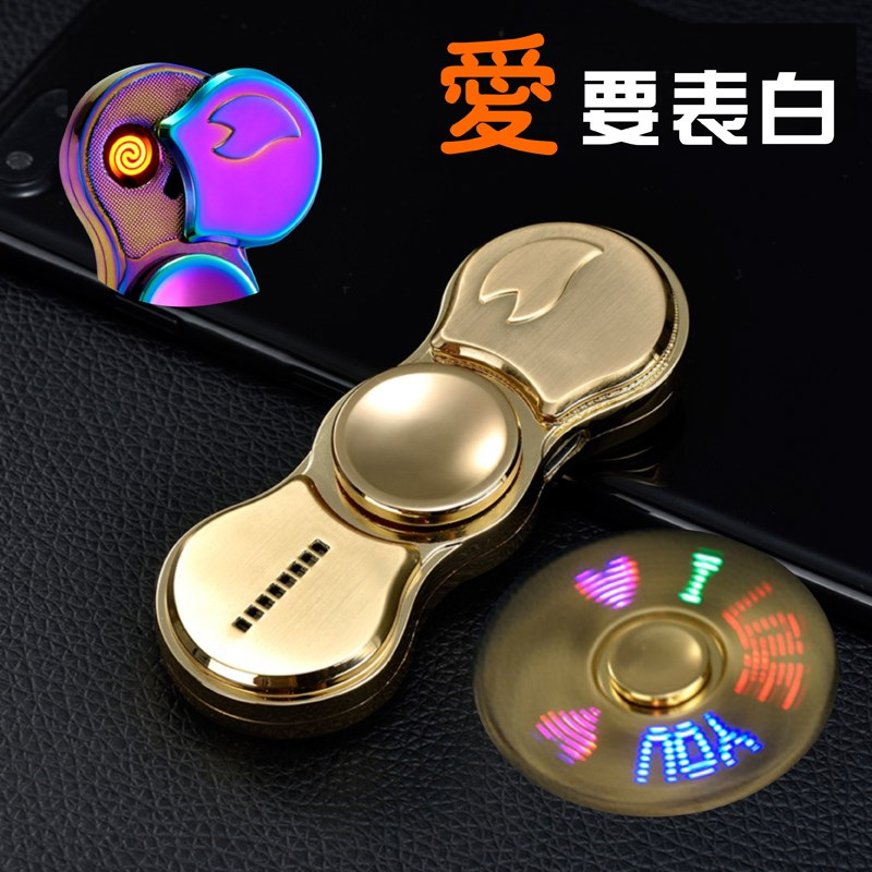 La punta de los dedos el giroscopio encendedor de carga USB personalidad personalización encendedor con hombres de letras.
