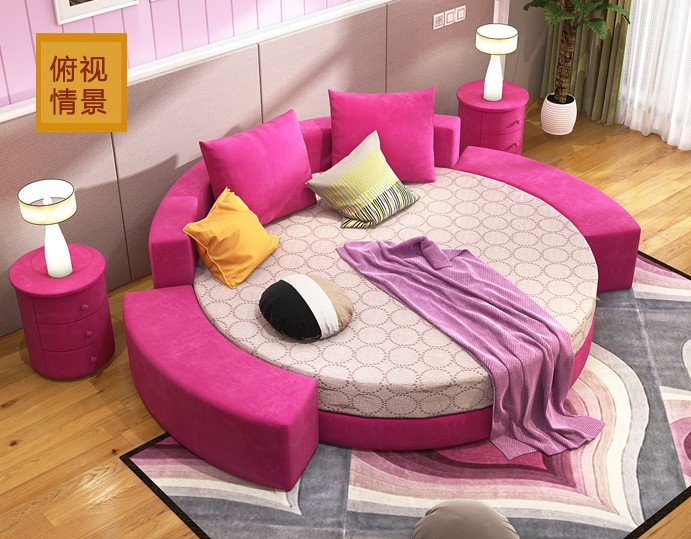 Simple round bed bedroom atmosphere environmental protection combined with creative fashion personality in modern convenient children Tian tatami