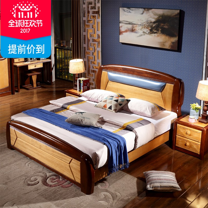 Modern Chinese holomorphic wood bed double 1.8 meters 1.5 meters single bed olive wooden bedroom furniture