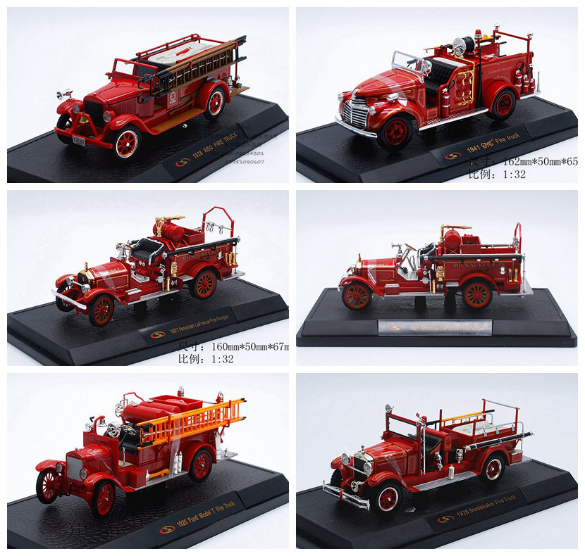 Original 1:32Signature Retro Vintage fire truck finished static simulation models alloy ornaments