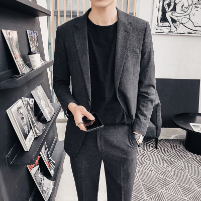 Summer Korean version of the slim suit suit male youth tide handsome casual suit wedding dress nine pants suit (夏季韩版修身西服套装男青年潮帅气休闲小西装结婚礼服九分裤套装)