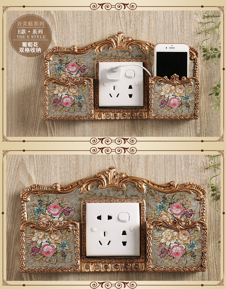 Switch attached to luxury resin wall, European style living room, exquisite originality, European switch socket, exquisite three-dimensional style protection