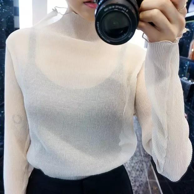 2017春秋新款性感透视长袖雪纺衫女百搭半高领褶皱防晒罩衫上衣潮