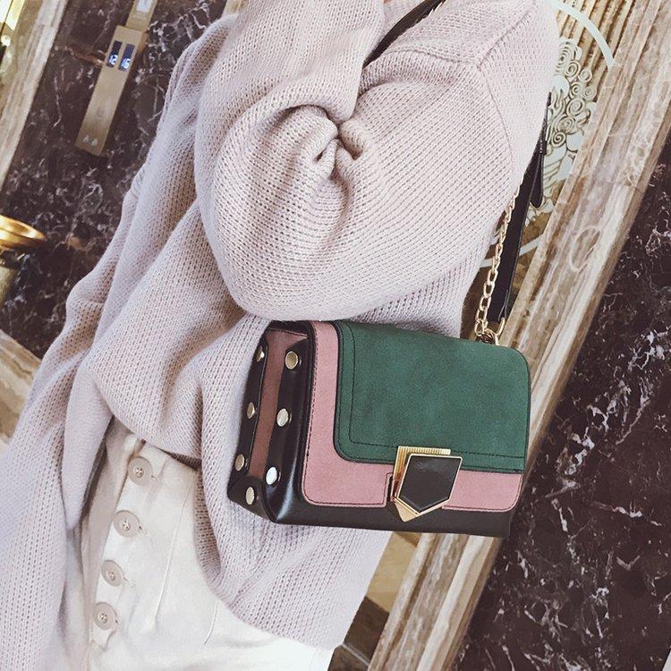 2017秋冬季新款女士包袋磨砂单肩包复古拼接链条斜跨包铆钉锁扣包