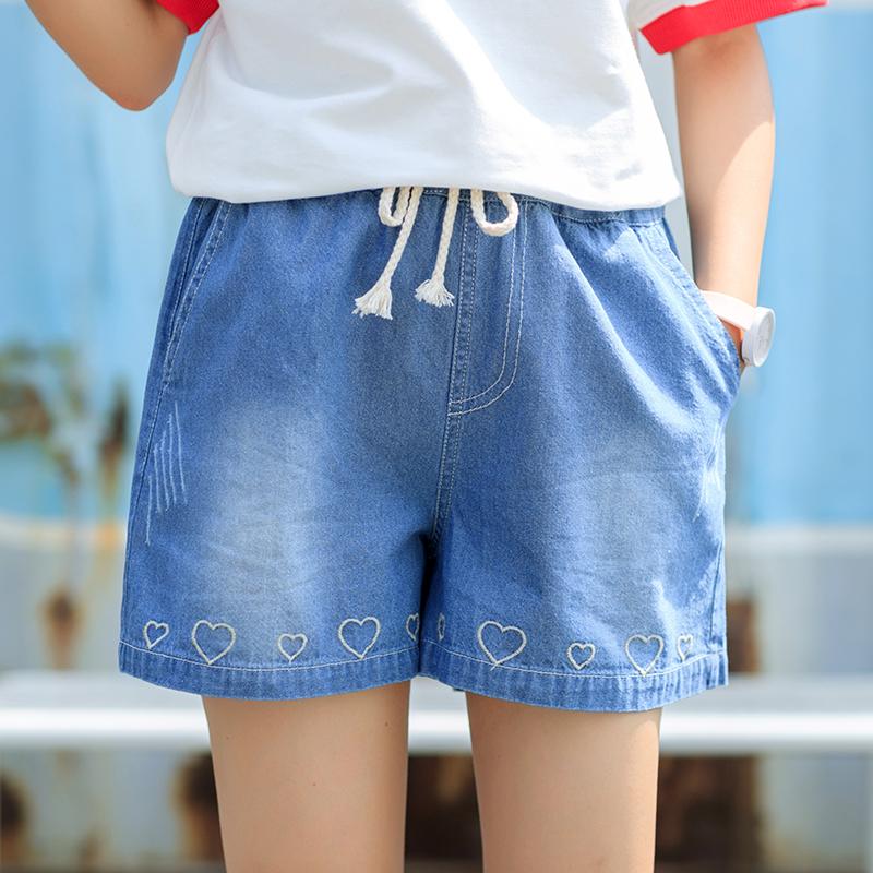 Quần sooc bò nữ thắt dây chun eo thêu hoa họa tiết hình tim phong cách Hàn Quốc kiểu dáng rộng rãi phong cách học sinh