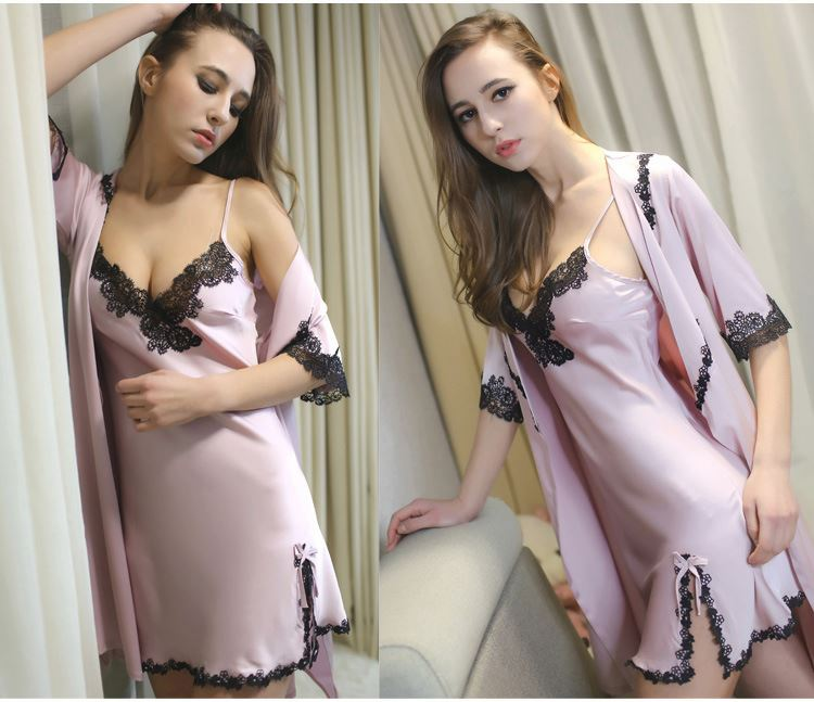 Summer silky texture silk pajamas shorts suspenders shawl comfortable four piece broken code clearance package
