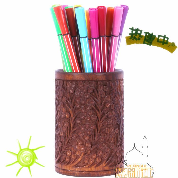 實物拍攝巴基斯坦手工藝術立體木雕擺設實木雕花高檔核桃木筆筒插花筒