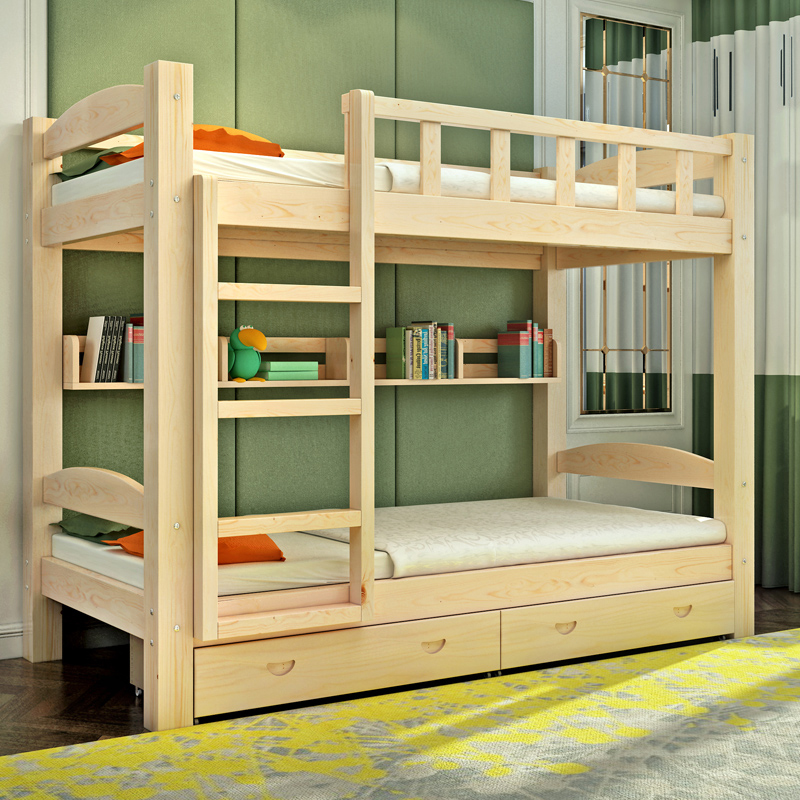 Children room furniture solid wood bed double bed bunk bed and bed height of pine mother bed bed