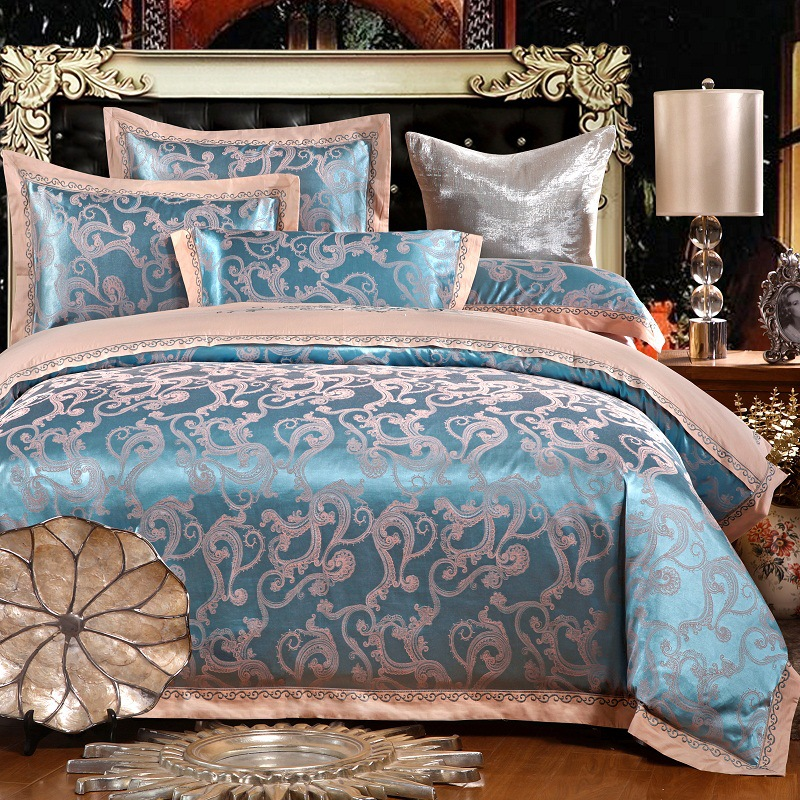Landpac 2017 new cotton textile and silk embroidered quilt European Cotton Satin Jacquard four piece