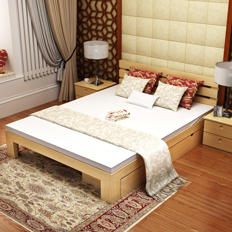 Nordic all solid wood bed 1.8 meters double bed, modern simple Japanese style 1.5 meter princess bed, master bedroom wedding bed furniture