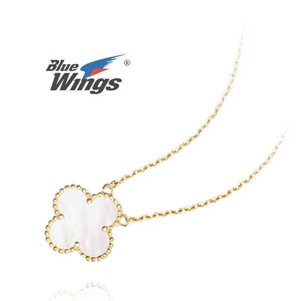 925 dây chuyền bạc nữ cỏ bốn lá dây chuyền đưa khoan hồng, vỏ gốm sứ trắng, xương đòn chuỗi dây chuyền quạt