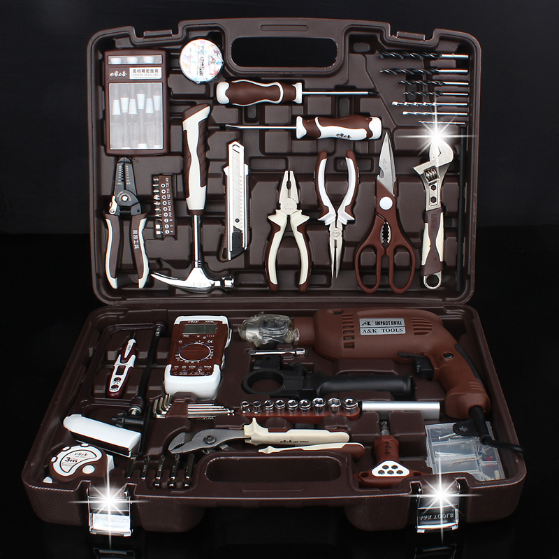 Auto repair tool set ratchet, quick wrench, car mounted car hardware toolbox combined package