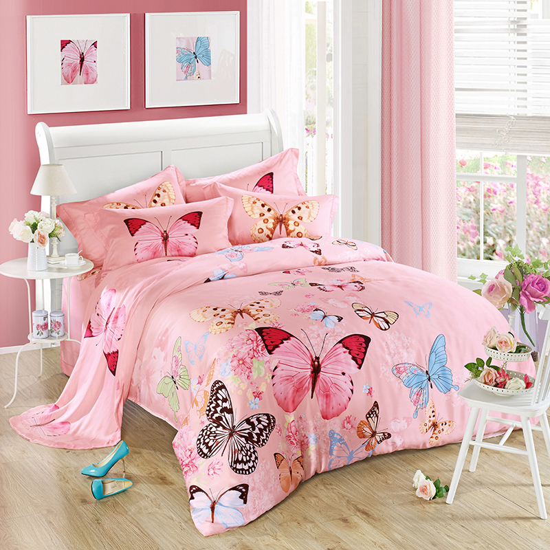 Four sets of high-end 40S Tencel sheets in spring and summer for butterfly flying flower active printing postage