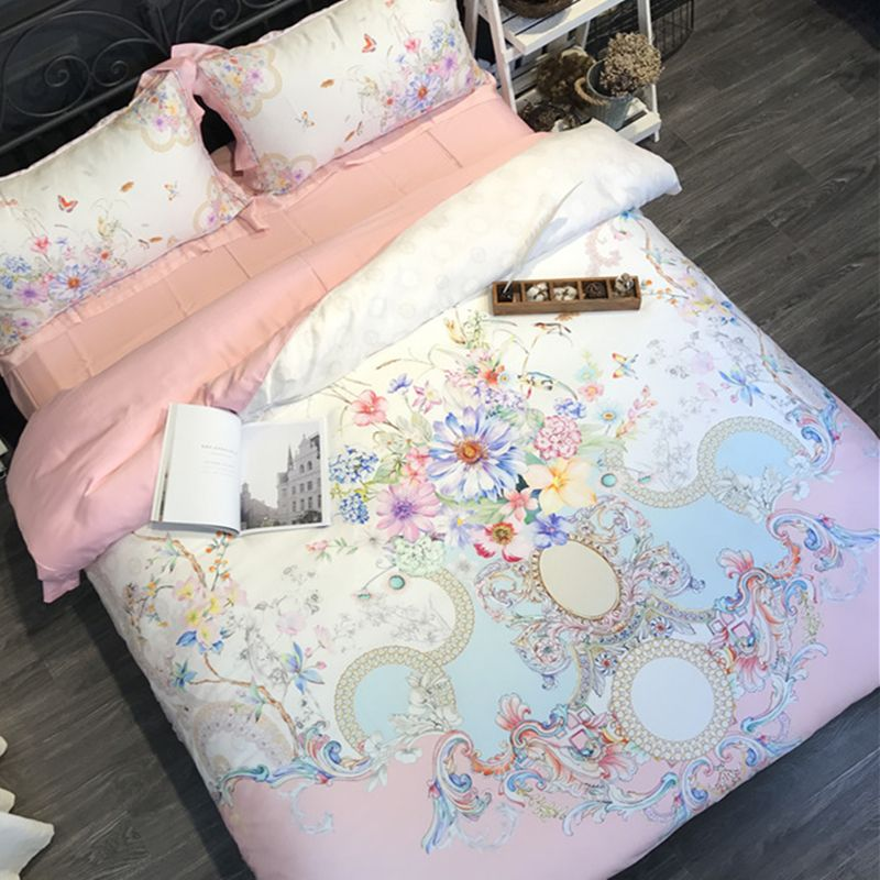 Spring and summer silky 80 double Tencel four sets of European style palace digital printing super soft naked bedding