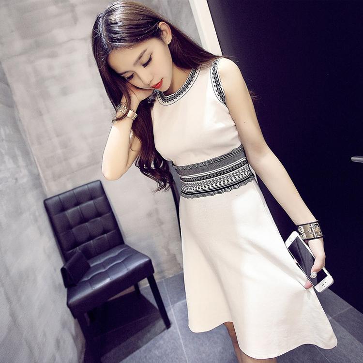 韩国2017春夏季新款女装中长款针织背心裙修身无袖小香风连衣裙