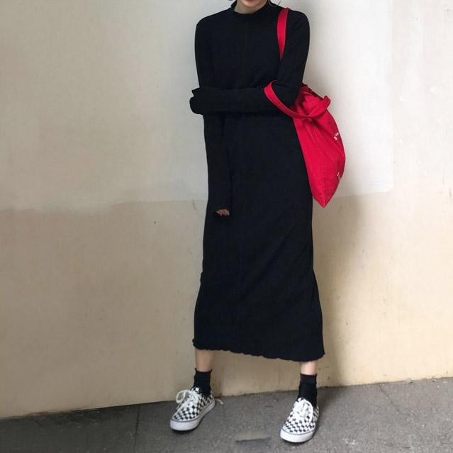 【F and Z】chic貫穿你所有的搭配Z實用的紙片人黑色連衣裙chang'
