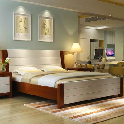 Simple modern wood 1.35 children's bed, Chinese oak bed, 1.2 double wedding bed, 1.8 meters bed, bed white