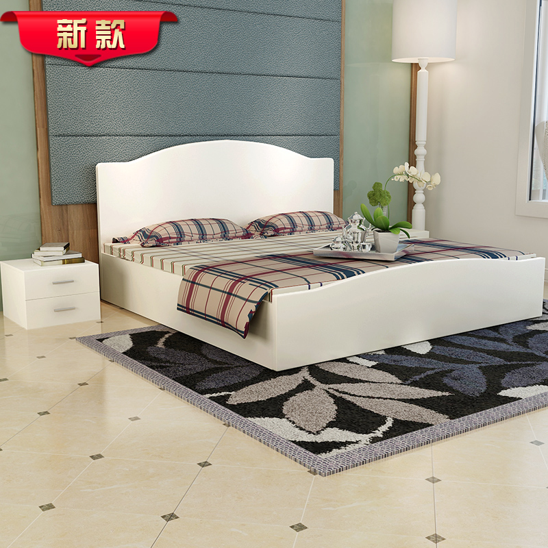 New modern simple solid wood board combined bed, single double bed, marriage bed, white bedroom furniture