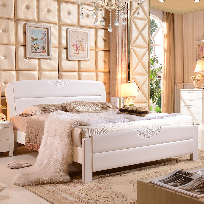 Solid wood bed is simple, modern white bed double bed, 1.5 meters 1.8 meters, bed high box bed, storage bed, marriage bed, Chinese bed