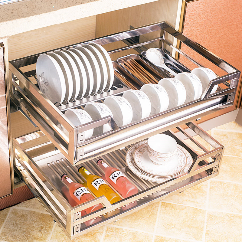 Double Kitchen Basket pot Bowl Blue 304 stainless steel drawer open kitchen cabinets Lalan cabinet racks