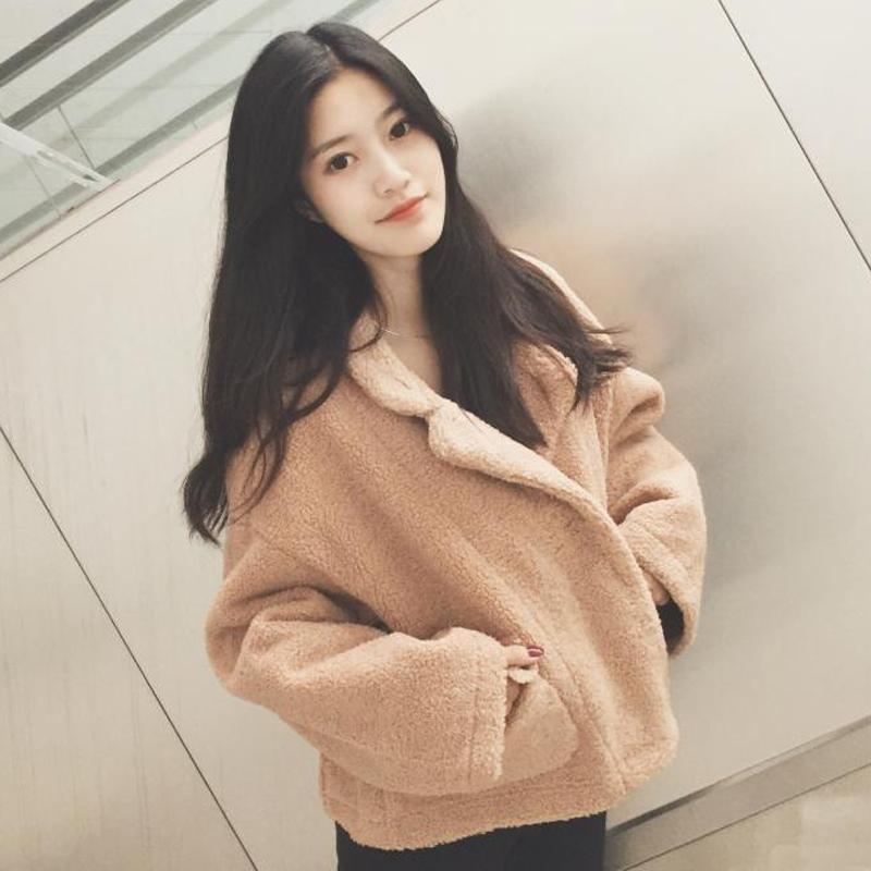 秋冬韩版宽松加厚仿羊羔毛短款外套翻领百搭学生保暖毛茸茸夹克女