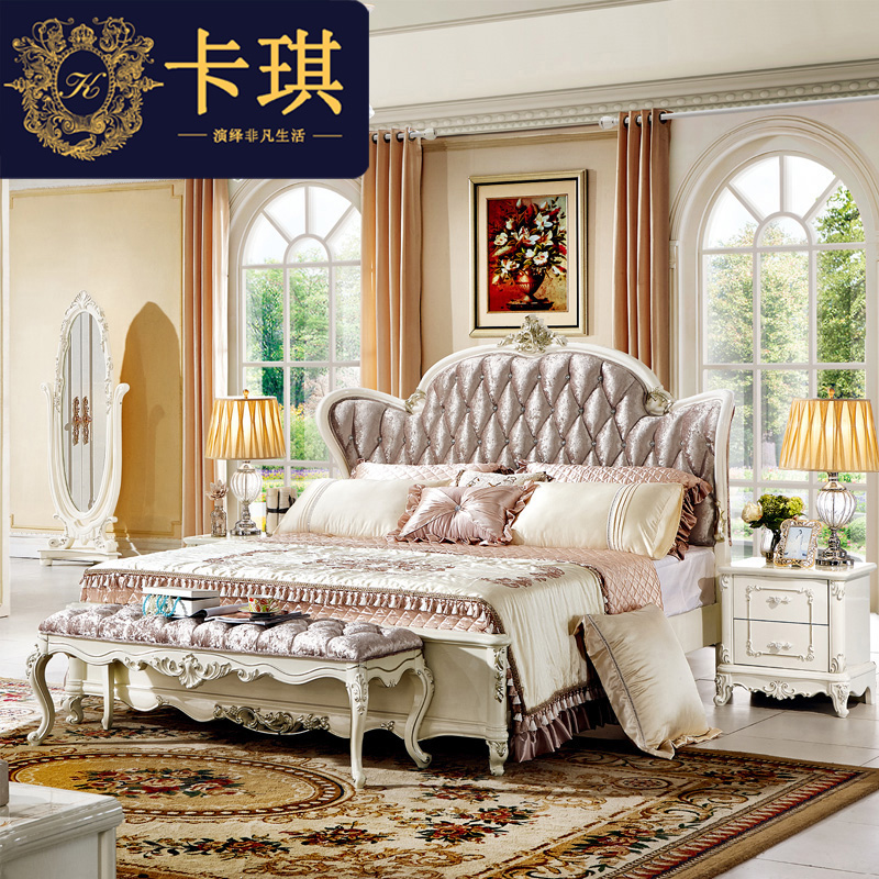 Continental bed, pearl white solid leather bed, 1.8m double bed, bedroom high box, soft princess bed