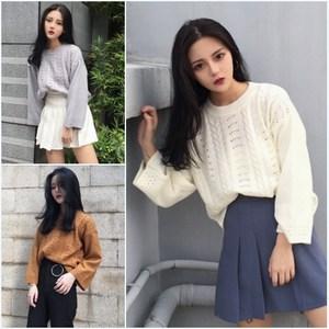 韩国镂空短款宽松套头毛衣上衣复古学生秋装百搭长袖针织衫女