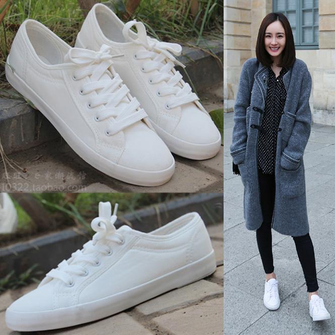 2017韩版潮透气帆布鞋平底女鞋文艺范纯色小白鞋低帮休闲布鞋单鞋