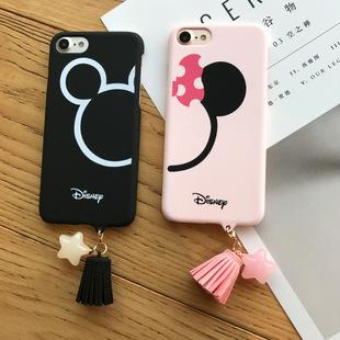 米奇日韩卡通情侣iphone7手机壳套苹果6splus磨砂硬壳潮情侣流苏