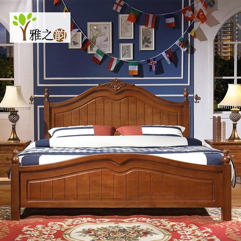 American solid wood bed, 1.8 m double bed, 1.5 meters, single bed, high box, oak bedroom suite combination
