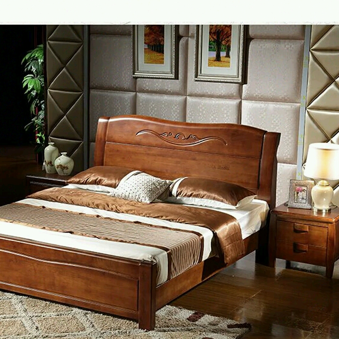 Solid wood bed, 1.8 meters 1.5m oak bed, Chinese bed double bed, single wedding bed, adult bed stock