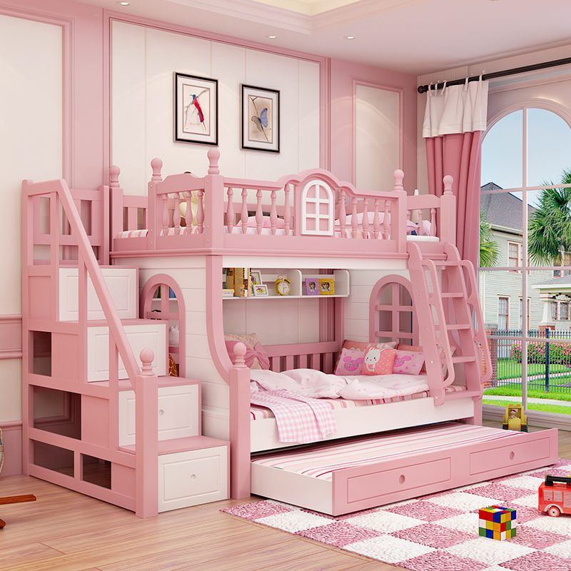 American children bunk bed bed bed bed double bed mother Pink Princess wooden bed girl window bed