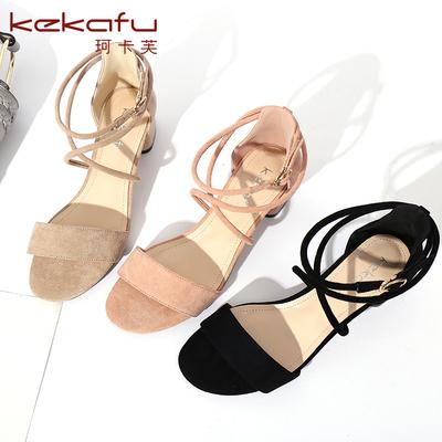 珂卡芙凉鞋女2017新款夏季露趾绑带包跟女鞋性感中跟一字带粗跟鞋