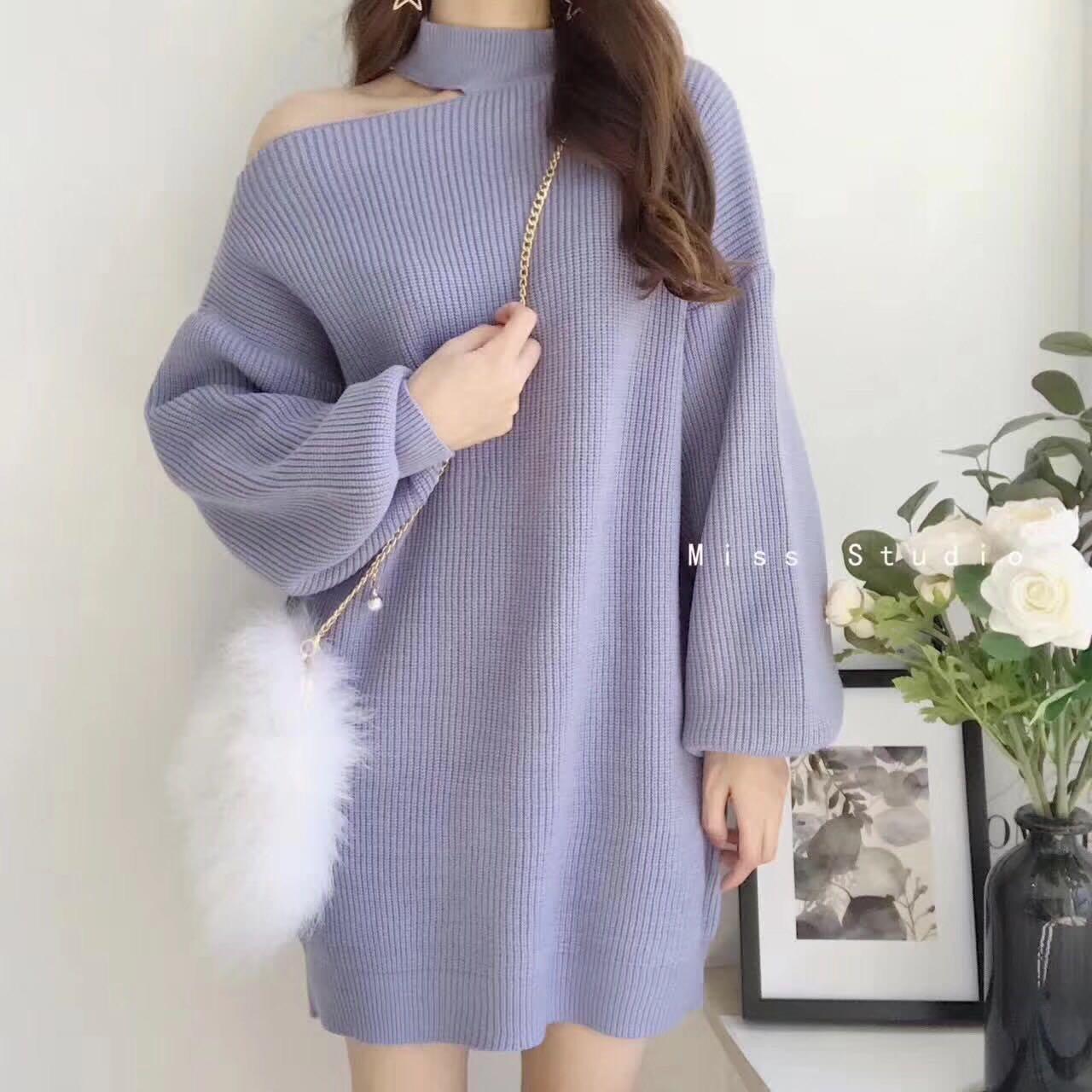 韓版新款寬松斜肩露肩燈籠袖針織毛衣連衣裙女