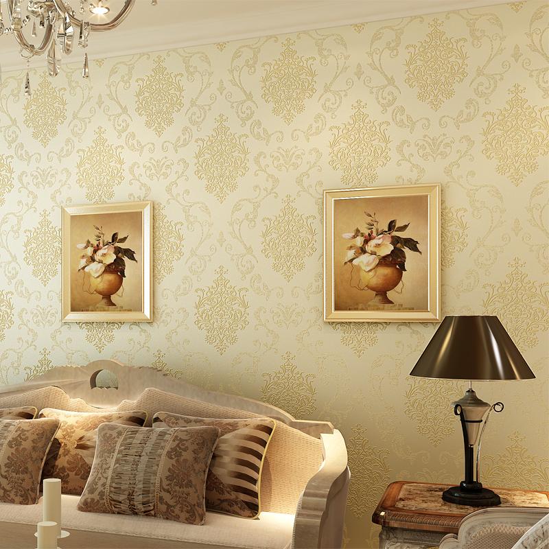 升級版淺綠色8786歐式無紡布墻紙 臥室客廳電視背景墻 立體浮雕植絨燙金3d壁紙