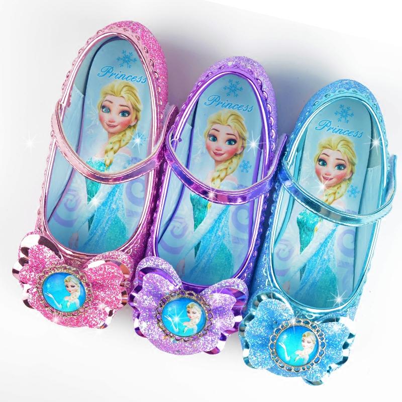 春秋新品小女孩包头水晶平底单鞋女童公主蝴蝶结冰雪奇缘凉鞋爱莎